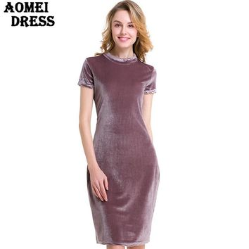 Women Elegant Silver Gray Slim Dress Knee Length Bodycon Ladies Clothes Robes Short Sleeve Velour Gown