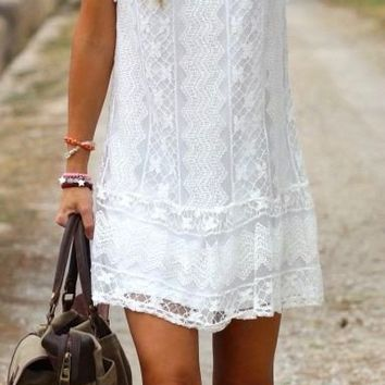 Hollowed Out Short White Lace Summer Beach Dress