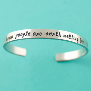 Some People Are Worth Melting For - Frozen Inspired Cuff Bracelet - Disney - Frozen Bracelet
