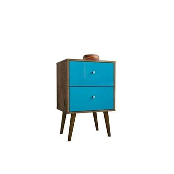 Liberty Mid Century - Modern Nightstand 2.0 with 2 Full Extension Drawers, Rustic Brown and Aqua Blue