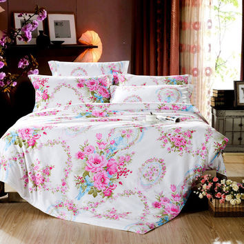 Rose Print Bedding Set