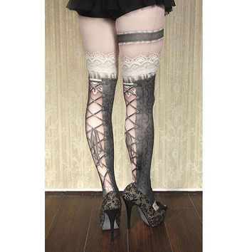 Gothic Victorian Steampunk Vintage Lace Corset Stockings Tights Pantyhose