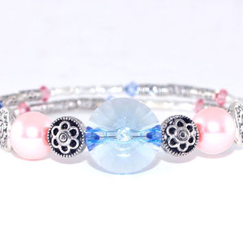 Light blue pink antique silver plated bead memory wire bracelet, Swarovski crystal, Wrap coil bangle, Light pink glass pearl, Layer stack