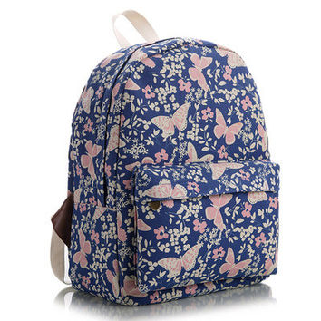 Animal Korean Lovely Floral Striped Stripes Canvas Cute Backpack = 4888011780