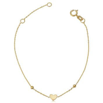 14k Yellow Gold Heart And Bead Adjustable Baby Bracelet, 6.5""