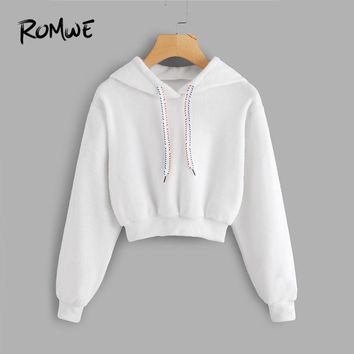 ROMWE White Faux Fur Drawstring Crop Hoodie Female Casual Plain Autumn New Style Pullovers Spring Hooded Long Sleeve Sweatshirt
