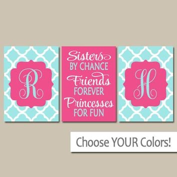 SISTERS Wall Art, Quote Decor, Shared Girl Bedroom Wall Decor, Monogram Decor, By Chance Friends Forever Princess, CANVAS or Print Set of 3