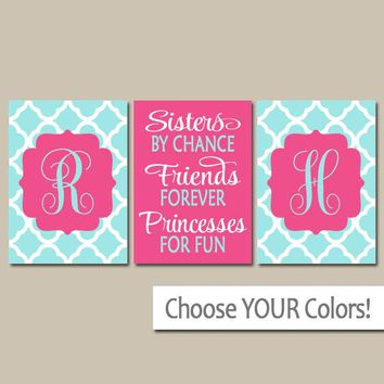 SISTERS Wall Art, Quote Decor, Shared Girl Bedroom Wall Decor, Monogram Decor, By Chance Friends Forever Princess, CANVAS or Print, Set of 3