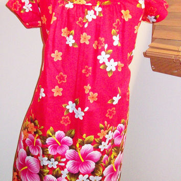 Vintage 70s 80s Ui-Maikai Bright Hibiscus Flower Print Hawaiian Aloha Mid Length Muumuu Dress