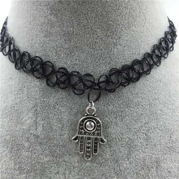 Tattoo Choker Necklace with Hand Pendant + Gift Box-31
