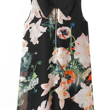 Black Floral Zippered Chiffon Dress
