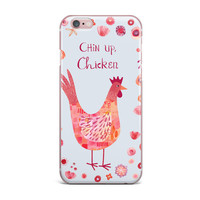 """Nic Squirrell """"Chin Up, Chicken"""" Blue Red iPhone Case"""