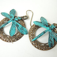 Dragonfly Earrings, Scroll ring with Painted Blue Green dragonflies, Natural brass