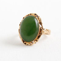 Vintage 14k Rose Gold Jade Ring - Size 3 3/4 Large Green Cabochon Gemstone Mid-Century 1960s Fine Jewelry