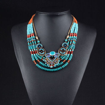 collared ethnics Bohemians necklace sets