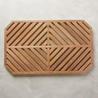 Teak Slat Bathmat in Cedar One Size Size Bedding by Anthropologie