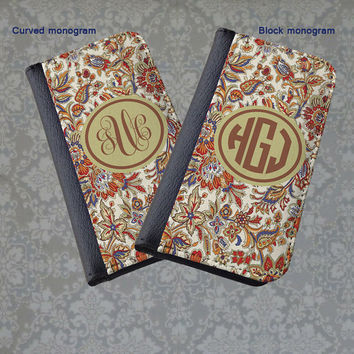 Vintage flowers floral monogram phone wallet case, personalized iPhone case, iPhone 4 5 6 customized Samsung wallet case flip case