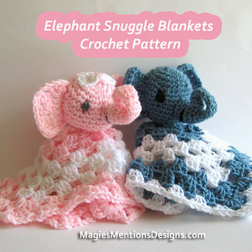 Crochet Pattern Amigurumi Stuffed Elephant Blanket Snuggle Security Lovey Blankie PDF Instant Download