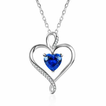 Caperci ♥Valentines Day Gifts for Her♥ Sterling Silver Heart Pendant Necklace Made with Heart-Shaped Lab-Created Gemstone, 18''