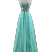 Gorgeous Bridal 2014 Fairy Prom Dress Long Strapless Tulle Rhinestones- US Size 8