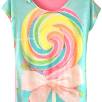 ROMWE | Lovely Pink Bowknot T-shirt, The Latest Street Fashion