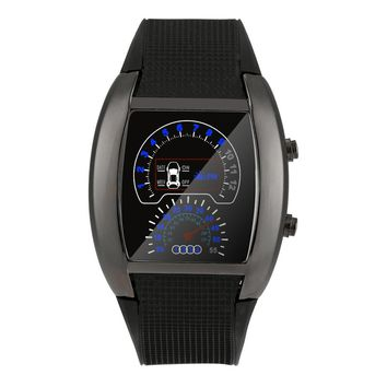 relogio masculino 2017 Fashion Aviation Turbo Dial Flash LED Silicone Sports Watch Gift Mens Womens Car Meter Wristwatches #615
