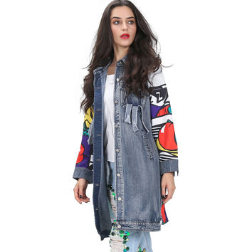 [TWOTWINSLTYLE] 2016 autumn graffiti print spliced long sleeve jean denim trench coat for women ripped pockets windbreaker