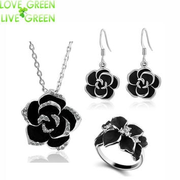 brand Camellia design pendant fashion women 18k gold plated black painting rose flower necklace earrings ring Jewelry Sets 82606