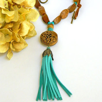 Turquoise Necklace, Boho Necklace, Leather Tassel, Tibetan Beads, Carved Bone Pendant, Handcrafted Necklace, Short Necklace, Beaded Necklace