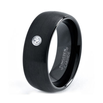 Black Tungsten Ring, Black Tungsten Band, Black Wedding Bands, White Diamond Mens Wedding Band, Black Men Wedding Band, Tungsten Carbide