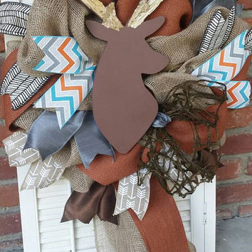 Deer Nursery Decor Brown Deer Wreath Rustic Nursery Woodland Burlap Wreath Antler Deer Baby Shower Burlap Baby Decor Wreath Baby Decor Grey