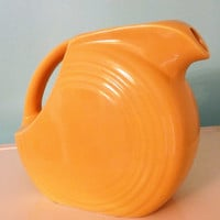Harlequin Yellow Fiesta Juice Pitcher, Bright Yellow Fiesta Ware Pitcher, Homer Laughlin Yellow Disk Pitcher Original Fiesta Circa 1935-1946