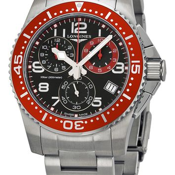 Longines HydroConquest Chronograph Black Dial Stainless Steel Mens Watch L36904596