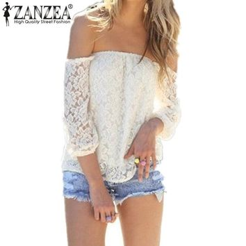 Women's Sexy Off The Shoulder Lace Summer Blouse.   In White or Black.   Sizes: Small to 3XL.   ***FREE SHIPPING***