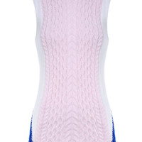 Pink Color Block Sleeveless Knitted Sweater Dress