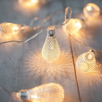 20 Silver Mesh Teardrop Battery Operated LED Fairy Lights String 3.3M for Wedding Party Fairy Lights Christmas Decoration