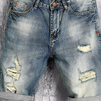 Mens Denim Distressed Board Shorts