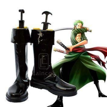 DCK7YE Anime One Piece After Two Years Roronoa Zoro Cosplay Halloween Party Shoes Black Boots