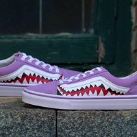 Vans x BAPE 17SS Shark Mouths Low Tops Flats Shoes Sneakers Sport Shoes