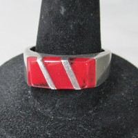 Mexico Sterling Silver & Inlaid Red Coral Vintage Band Ring, Size 8.5