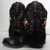 TONY LAMA Luck Star Black Leather Cowgirl Boots Women's Size 9.5