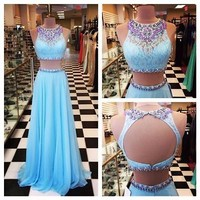 2015 Sexy Two Pieces Evening Dress Lace Pageant Party Formal Prom Celebrity Gown