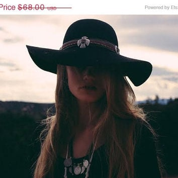 ON SALE thunderbird boho hat BLACK // spirittribe, boho, hatband, concho, wide brim, summer hat, fashion