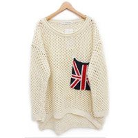 Beige Long Sleeve Flag Pocket Sweater