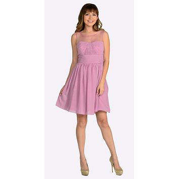Short Sleeveless Chiffon Bridesmaid Dress Mauve Mist Illusion Neck