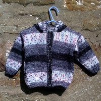 "Hand knitted baby boys hoodie / hooded jumper. 20"" chest."