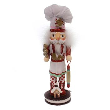 Christmas GINGERBREAD CHEF NUTCRACKER Wood Rolling Pin Cookie Ha0325