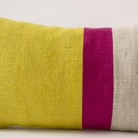 Amore Beaute Handcrafted Yellow Pillow Cover - Burlap Pillow Cover Color Block - Yellow Fuchsia Decorative Cushion Cover - Spring Throw Pillow Cover - Rectangle Pillow Cover - Sunshine Pillow Covers - Decorative Pillow Cover - Throw Pillow Case - Colorful