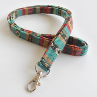 Woven Lanyard / Boho Keychain / Indian Blanket Inspired / Bohemian / Key Lanyard / Teal / Woven Stripe Fabric / ID Badge Holder / Colorful