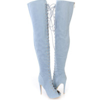 Fashion Over the Knee High Martin Women Lace Up Type Boots Thigh High Knight Bootie Shoes Blue